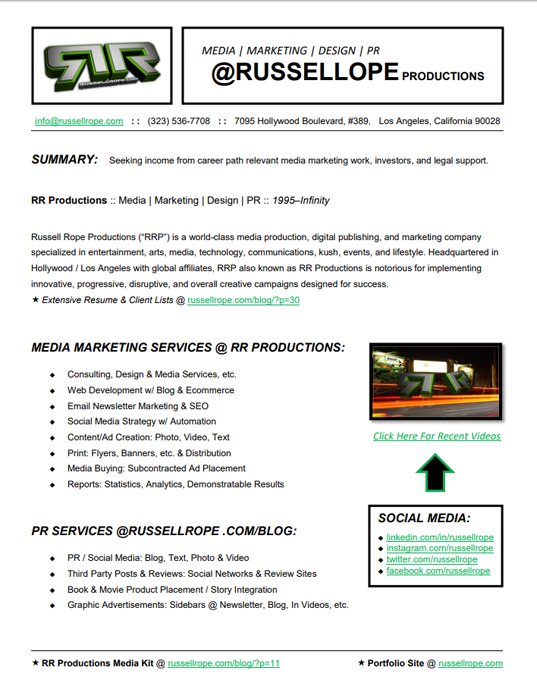 #MeDiA #SeRViCeS @RussellRope #PROduCtiONs